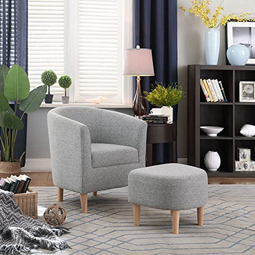 BXD Tub Chairs Armchair and Footstool, Single Cuddle Sofa Living Room Accent Bucket Chair with Upholstered Occasional Lounge Arm Chairs for Reception Bedroom Reading Small Spaces Grey