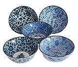 AAF Nommel, Matcha - Reisschalen 5-er Set Japan Porzellan blau Weiss Blumen, Nr. 070