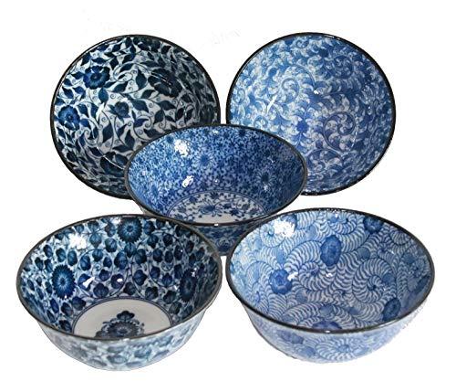 AAF Nommel®, Matcha - Reisschalen 5-er Set Japan Porzellan blau Weiss Blumen, Nr. 070