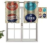 Hiiiman Paneles de cortina con ojales en la parte superior, diseño de tapas para botellas de cerveza, refresco, juego de 1, 127 x 45 cm, aislamiento térmico para sala de estar