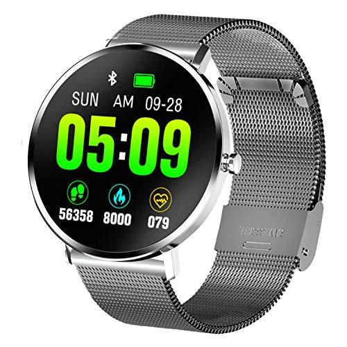 Yumanluo Smartwatch Impermeable,Monitorización de frecuencia cardíaca/presión Arterial/sueño, Pulsera Deportiva-Cinturón de Acero Gris,Monitores de Actividad,Fitness Tracker