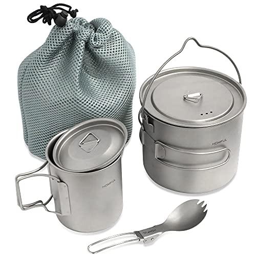 HOMFUL Camping Cookware Titanium Cooking...