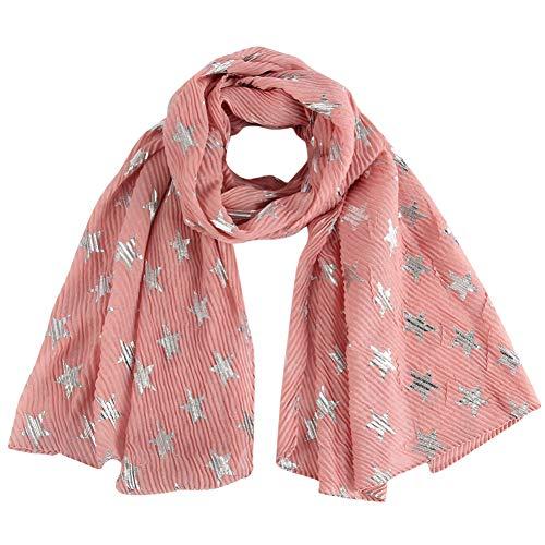 MYTJG Lady sjaal Fashion Lady metaalfolie zilver roze ster wrinkle sjaal hoofddoek vrouwen warm en aangenaam warm