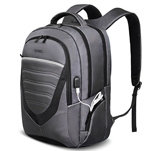 DTBG Durable Lightweight Backpack with USB Charging Port,Casual Travel Hiking Rucksack College Daypack School Bag Business Computer Backpack fits 17-17.3 Inch Laptop/Notebook/Macbook,Grey