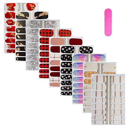 NAIL ANGEL 9pcs/Pack Nail Art Wrap Full-Cover Finger Nail Sticker Star Flame Designs Sticker Nail Strips for Women 16tips/Sheet 10096