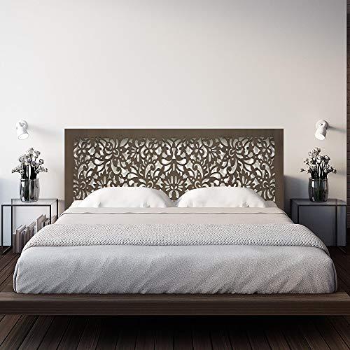 Cabecero de Cama en Madera Calada, para Cama de 150 cm. Fabricado artesanalmente en España- Decorado con Mandala Flores Pintada a Mano- Modelo Mosaico 154 (Nogal, 160x80 cm)