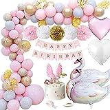 MMTX Decoration Anniversaire Fille, Bannière Joyeux Anniversaire avec Feuilles de Palmier, Pompons en Papier, Ballons Coeur, Ballon Cygne et Décoration Gâteau pour Enfant Fille Articles Fête
