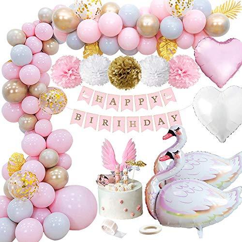 MMTX Globos Bumpleaños Niña, Decoraciones de Fiesta de Cumpleaños con Pancarta de Feliz Cumpleaños, Adorno de Pastel de Bricolaje, Pompones, Globos de Látex, Globo Corazón y Globo de Cisne para Niña
