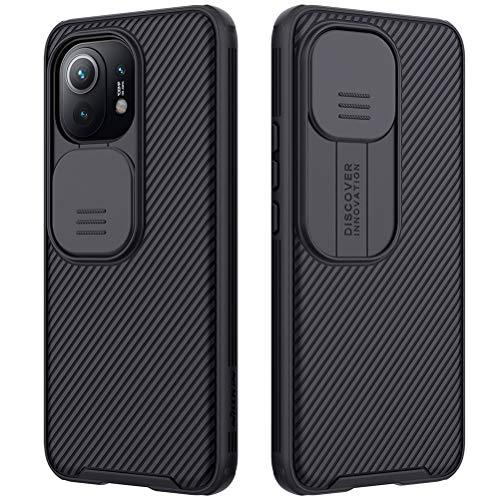 Mkej Case mit Slide Camera Cover Kameraschutz Camera Lens Protection Kompatibel mit Xiaomi Mi 11 Hülle, Robuste PC Handyhülle Cover Objektiv Schutzhülle Bumper Hybrid Hülle - Schwarz