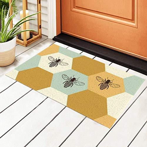 Felpudo de bienvenida con base antideslizante impermeable, diseño de colmena de abejas para entrada interior de PVC, para puerta al aire libre, cocina, cuarto de baño, 23.6 x 15.7 pulgadas