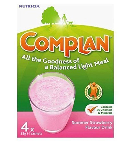 THREE PACKS of Complan Strawberry 4 x 55g Sachets