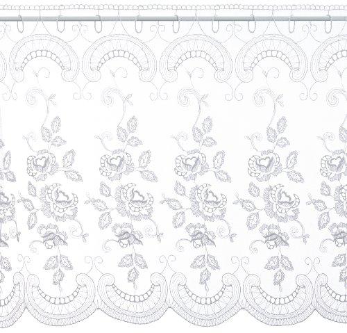 Plauener Spitze by Modespitze, Store Bistro Gardine Tüllgardine Florentiner mit Stangendurchzug, hochwertige Stickerei, Höhe 65 cm, Breite 148 cm, Weiß