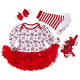 Baby Christmas Party Dresses 4PCS Newborn Infant Toddler Girls Princess Snowflake Tutu Dress Outfits Set by-Leegor White