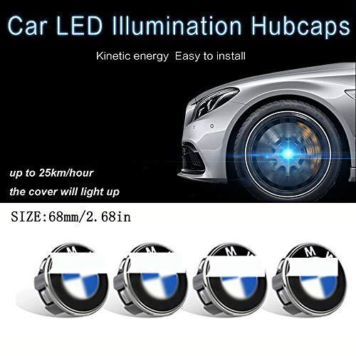 L&U 4 PC LED-Licht Magnetschwebebahn Wasserdicht Radmitte Tüllen Abdeckhauben für 1 Series 3 Series5 Series 7 Series X1X3X5X4X6,BMW,68mm/2.68in