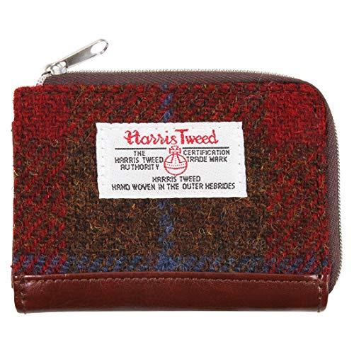 Harris Tweed börse mit Schottenkaro, klein, mit Reißverschluss, Rot