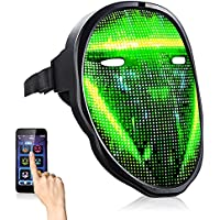 Lalasani Halloween Cool LED Face Mask with Bluetooth App Control