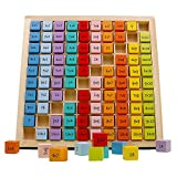 umbresen Wooden Multiplication Board Game, 100 Cubes Blocks Montessori 10x10 Times Table Tray with Answers Preschool Learning Toys Gift for Children Kids (Multiplication Board)