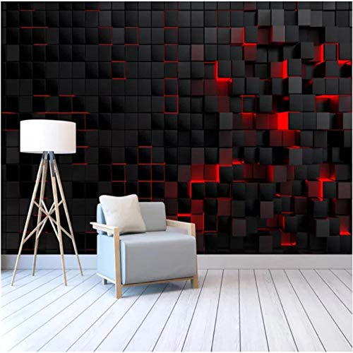 Wallpaper Mural Art Space Photo Poster Print 3D Black Cube Waterproof Removable Non-Woven TV Backdrop Living Room Home Decor -200X140cm(78 * 55 inch)
