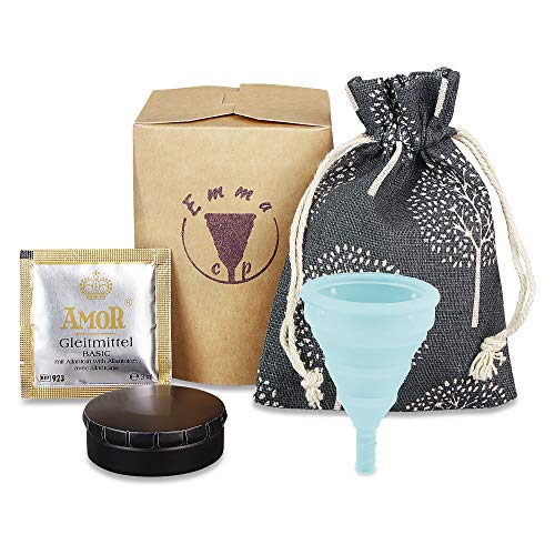 EmmaCup Menstruationstasse Set | Faltbarer Menstruations-Cup aus 100{53b7be363b15c0ec4f8d2959a51150d4d2d0d16e862d5c8176689c104057f219} medizinischem Silikon BPA-Frei | Nachhaltiger Menstruationsbecher inkl. Dose und Beutel