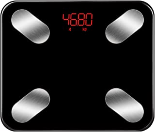 MENGQ Báscula De Baño Báscula De Cuerpo Inteligente Báscula Electrónica De Carga, Báscula De Peso, Báscula De Prueba De Grasa (Color : Black)