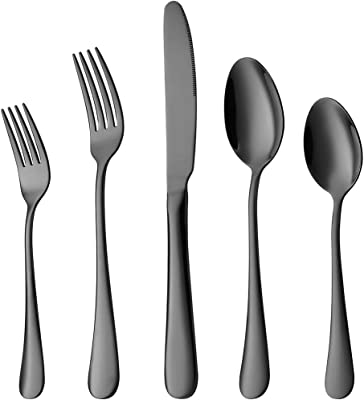 Black Silverware, Devico 20-Piece Stainless Steel Metal Flatware Utensils Cutlery set for 4, Mirror Polished, Dishwasher Safe