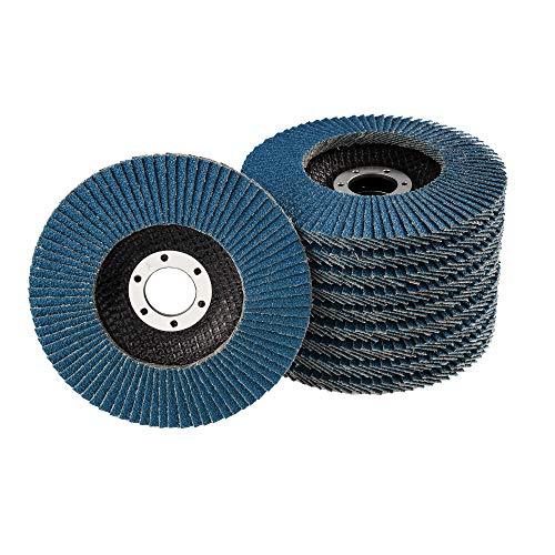 10 Stück Fächerscheiben – Ø 125 mm – Korn 80 – blau/INOX Fächerscheiben/Schleifmopteller/Fächerschleifscheibe