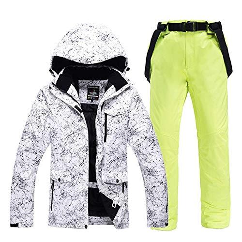 LJYNB -30 ropa blanca de esquí para adultos Conjuntos de snowboard impermeable a prueba de viento Chaqueta y pantalón de traje de nieve transpirable al aire libre Chaqueta y pantalón Unsex XL
