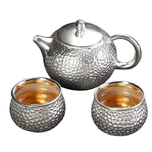 Tetera de plata tibetana S999 de plata de ley, taza de té chino, servicio de té de Kung Fu portátil, para oficina, viaje, juego de té y dos tazas (color: juego de 3 piezas, tamaño: gratis)