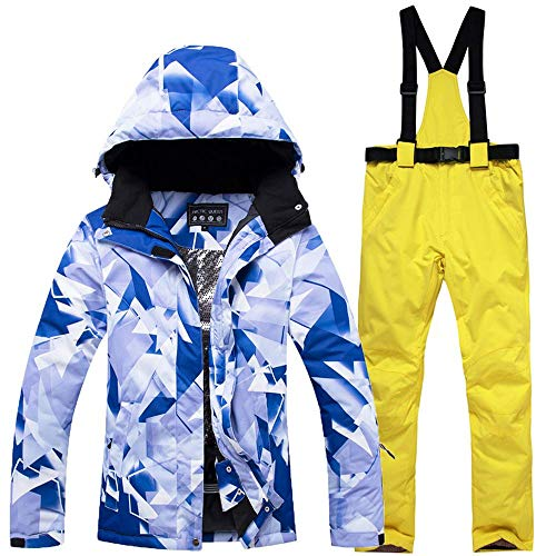 QunWang Outdoor-Skianzug Winter Damen Jacke + Hose Atmungsaktiv Windabweisend Wasserdicht Warmes Ski Thick Multifunktionale 3-S