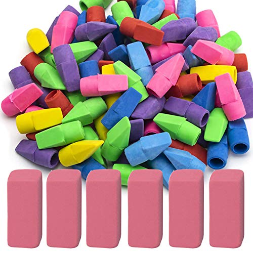 Sooez Pencil Erasers, 90 Pack Pencil Top Erasers & 6 Pack Pink Erasers, Cap Erasers Eraser Tops Pencil Eraser Toppers Erasers Studying Supplies for Teachers Pencil Erasers