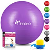 TRESKO Ballon de Gymnastique | Anti-éclatement | Boule d'assise | Balle de Yoga | Balles d'exercices Fitness | 300 kg | avec Pompe à air | Violet | 65cm