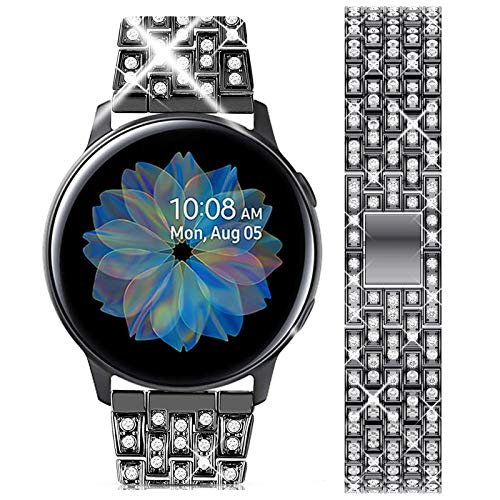wlooo Diamante Reloj Correa para Samsung Galaxy Watch 3 41mm/Active 2 40mm 44mm/42mm, Bling...