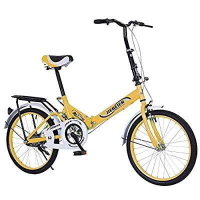 20 Inch Folding Bike for Adult Men and Women Teens, Mini Lightweight Foldable Bicycle for Student Office Worker Urban Environment, High Tensile Aluminum Folding Frame with V Brake Rear Rack (Yellow)