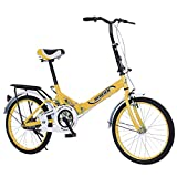 20in Folding Bike, 7 Speed City Road Bike Ultra-Light Portable Women's City Mountain Cycling Outdoor Exercise Bikes with Dual Disc Brake for Adult and Youth【US Fast Shipment】 (Yellow)