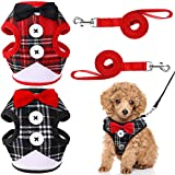 Svee 2 Pieces Small Dog Harness and Leash Set, Soft Mesh Plaid Puppy Harness, Pet Vest Harness with Bowknot, Adjustable Mesh Dog Walking Harness for Small Medium Dogs and Cats (Classic Pattern, M)