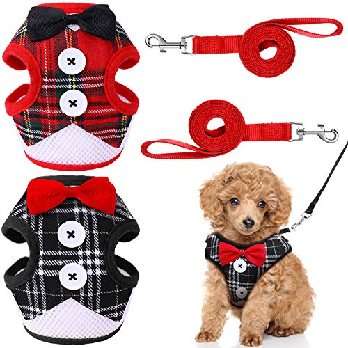 Svee 2 Pieces Small Dog Harness and Leash Set, Soft Mesh Plaid Puppy Harness, Pet Vest Harness with Bowknot, Adjustable Mesh Dog Walking Harness with Buttons for Small Medium Dogs and Cats (M)