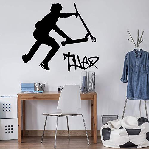Blrpbc Adesivi da Parete Adesivi Murali Nome Personalizzato Stunt Scooter Sport Boy Room Camera da Letto Nome Personalizzato Scooter Stunt Playroom Vinyl Decor 72x65cm