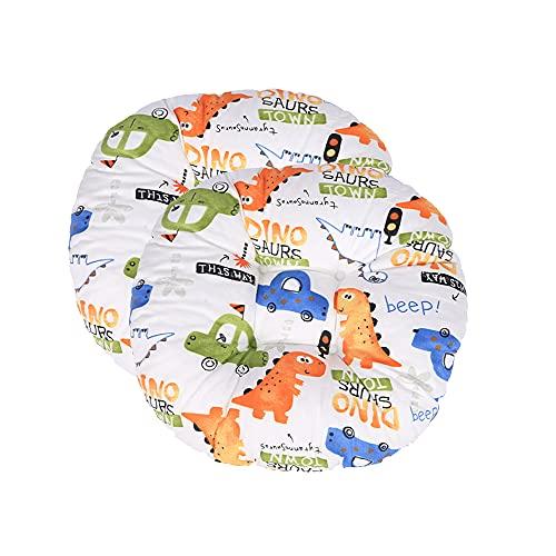 Hiseng 2 Piezas Cojín de Silla Tatami Cojines para Asiento, Espesar Suave Respirable Algodón Cojín, Redonda Cojin para Sofá, Colchoneta para Cocina Jardín Patio Oficina en Casa (Dinosaurio Blanco)