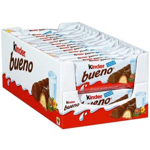 Kinder Bueno Milk Chocolate and Hazelnut Cream Candy Bar 30 Packs 2 Individually Wrapped 15 Oz Bars Per Pack