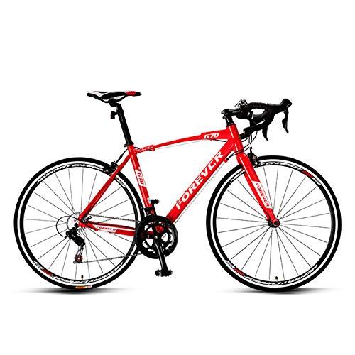 JKCKHA Bicicleta De Carretera, Bicicleta De Carreras con Cuadro De Aluminio Ligero De 700C con Sistema De Desviador De 16 Velocidades Y Freno Doble En V,B
