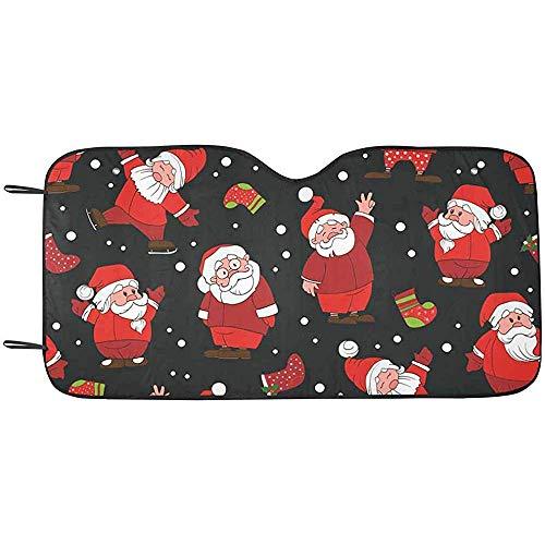 Zome Lag Kerstmis Emoties Kerstman en Laarzen Voorruit Zonneschaduwen, Accordeon Vouwen Auto Zonneschermen voor Auto Truck SUV S(70X130CM) 1457