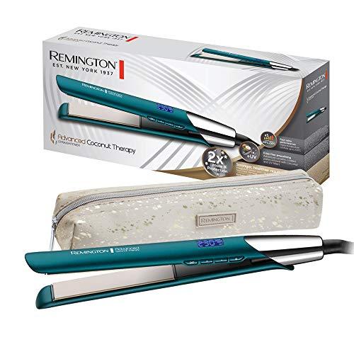 Remington Advanced Coconut Therapy Plancha de Pelo - Cerámica, Digital, Resultados Profesionales, Placas Flotantes, Azul - S8648
