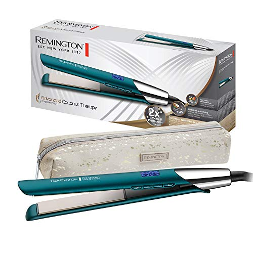 Remington Advanced Coconut Therapy - Plancha de Pelo, Cerámica, Digital, Resultados Profesionales, Azul, S8648