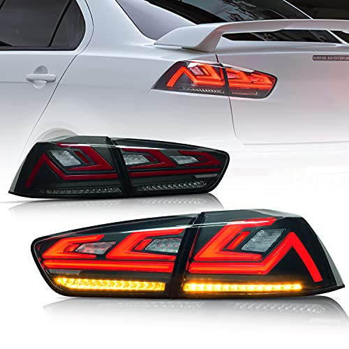 For Lancer taillight assembly, suitable for Mitsubishi Wingshen/Lancer/Evo X 2007-2020 Models Updated Rear Lamp with Scanning w/Amber Seqential Light,Left and right side, Smoked