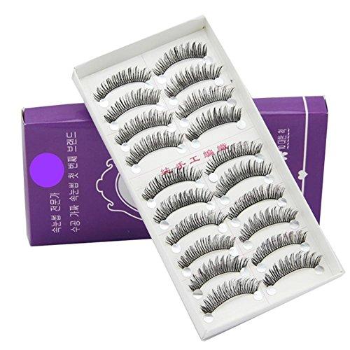 MEYLEE Naturels 20 Paires Noir Longs et épais Souple réutilisable Faux Cils Faux Cils pour Maquillage cosmétique