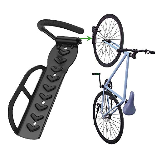 Nuovoware Bike Hanger Rack, Heavy Duty Garage Wall Mount Bike Vertical Hook Storage System, Scratch Resistant Anti-Slip Rubber Cover Bicycle Hook, Holds up to 66 lb, Easy Hang & Detach, Black