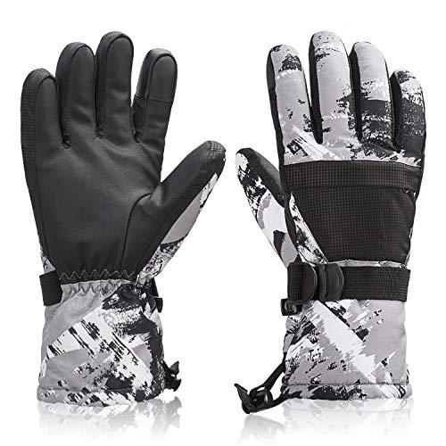 Ski Snowboard Gloves Waterproof Winter Warm Gloves,Cold Weather Gloves for Kid Adult (Gray L)