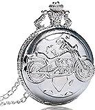 Silber Quarz Antike Anhänger Kette Taschenuhr Motor Cyclemotor Fahrrad für Männer und Frauen Dekorieren Geschenk für Vater
