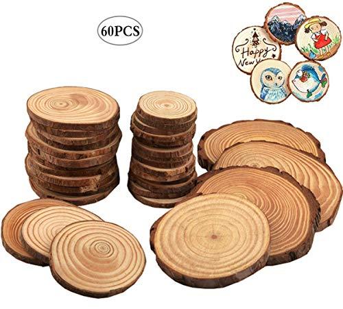 Liuer Rund Natur Holzscheiben,60PCS Holz Log Scheiben mit Baumrinde Unbehandeltes DIY Handwerk Dekoration Holz Tischdeko Hochzeits Weihnachten Baum Anhänger (3-4 cm,4-5 cm,5-6 cm,5MM Dicke)