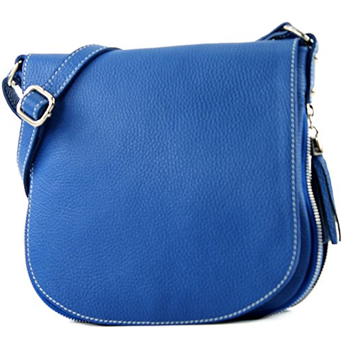 modamoda de - ital Mensajero de cuero bolso T06, Color:azul